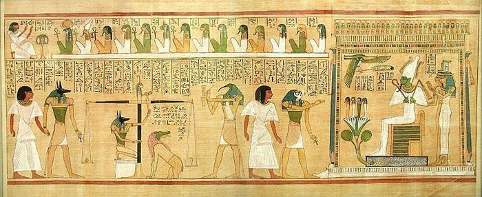 Osiris en la ceremonia de pesaje del corazón
