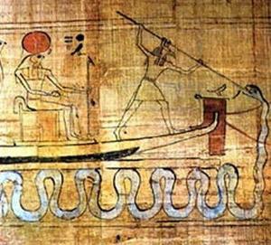 Representación de Seth luchando contra Apophis