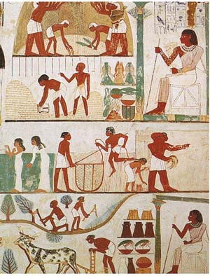 Egipcios vistiendo varios tipos de ropa